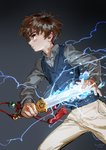 1boy 2018 artist_name brown_hair cardcaptor_sakura closed_mouth collared_shirt electricity fighting_stance glowing glowing_sword glowing_weapon gradient gradient_background grey_background grey_shirt highres holding holding_sword holding_weapon jane_mere legs_apart li_xiaolang long_sleeves male_focus pants profile serious shirt standing sweater_vest sword tassel weapon white_pants wing_collar