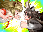 2girls animal_ears antlers battle black_hair blonde_hair clenched_hand extra_ears from_side fur_collar hair_between_eyes happa_(cloverppd) kemono_friends lion_(kemono_friends) lion_ears long_hair long_sleeves looking_at_another moose_(kemono_friends) moose_ears multiple_girls necktie open_mouth plaid plaid_neckwear plaid_sleeves purple_eyes short_sleeves teeth yellow_eyes