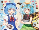 2girls >:p antennae aqua_hair bare_arms bare_shoulders black_dress blue_background blue_bow blue_dress blue_eyes blue_hair blush bow bowl breasts butterfly_wings caramell0501 chocolate cirno commentary dress eternity_larva eyebrows_visible_through_hair green_dress hair_bow hair_ornament heart holding holding_bowl holding_plate ice ice_wings leaf leaf_hair_ornament looking_at_viewer medium_breasts multicolored multicolored_clothes multicolored_dress multiple_girls neck_bow open_mouth pasties plate puffy_short_sleeves puffy_sleeves red_bow red_neckwear short_sleeves sleeveless sleeveless_dress smile striped striped_background tongue tongue_out touhou upper_body v-shaped_eyebrows valentine whisk wings yellow_background yellow_eyes
