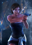 1girl backlighting brown_hair clothes_around_waist fire gun highres jill_valentine realistic resident_evil resident_evil_3 solo sparks strapless sweat thezentlion weapon