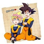 2boys :d :o black_eyes black_hair blonde_hair blue_eyes character_name clone dougi dragon_ball dragon_ball_z flower happy head_wreath heart kneeling long_sleeves looking_at_another male_focus multiple_boys open_mouth rochiko_(bgl6751010) simple_background sitting smile son_goten super_saiyan translation_request white_background