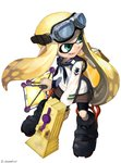 1girl absurdres ankle_boots bangs bike_shorts black_footwear black_neckwear black_shorts blonde_hair blouse blunt_bangs boots chamu_(chammkue) commentary_request domino_mask emblem fangs full_body goggles goggles_on_head highres holding holding_weapon ink_tank_(splatoon) inkling light_smile long_hair long_sleeves looking_to_the_side mask neckerchief open_mouth pointy_ears sailor sailor_collar shorts solo splat_bomb_(splatoon) splatoon splatoon_1 splattershot_jr_(splatoon) standing tentacle_hair twitter_username velcro weapon white_blouse