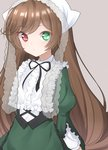1girl absurdres apron black_ribbon brown_hair floating_hair frilled_apron frilled_sleeves frills green_apron green_eyes grey_background heterochromia highres ise_dango long_hair long_sleeves looking_at_viewer neck_ribbon red_eyes ribbon rozen_maiden shiny shiny_hair simple_background solo standing suiseiseki very_long_hair waist_apron