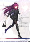 1girl absurdres antenna_hair artist_name bag bangs black_footwear boots breasts buttons character_name double-breasted eyebrows_visible_through_hair fate/grand_order fate_(series) fine_fabric_emphasis full_body handbag highres holding koyama_hirokazu looking_at_viewer medium_breasts official_art page_number pantyhose purple_hair red_eyes running scan scathach_(fate)_(all) simple_background smile solo thigh_boots thighhighs translation_request white_background zoom_layer