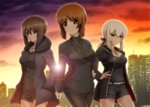 3girls bangs belt black_dress black_jacket black_necktie blue_eyes blush brown_eyes brown_hair building coat commentary_request cosplay diesel-turbo dress eyebrows_visible_through_hair fate/grand_order fate_(series) formal fujimaru_ritsuka_(female) fujimaru_ritsuka_(female)_(cosplay) fur-trimmed_coat fur_trim girls_und_panzer hair_ribbon hand_on_hip hands_in_pockets hood hooded_jacket itsumi_erika jacket jeanne_alter jeanne_alter_(cosplay) jewelry multiple_girls necklace necktie nishizumi_maho nishizumi_miho ponytail ribbon ruler_(fate/apocrypha) saber saber_alter saber_alter_(cosplay) short_dress short_hair short_shorts shorts silver_hair suit sunlight sunset