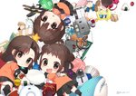 3girls anchor antenna_hair bangs bean black_skirt blush bow box brown_eyes brown_hair bucket bunny cat chibi chocolate chocolate_heart commentary_request cookie double_bun drum elbow_gloves enemy_lifebuoy_(kantai_collection) eyebrows_visible_through_hair fan food gambier_bay_(kantai_collection) gift gift_box gloves green_bow hair_between_eyes hair_bow hair_intakes hair_ornament half_updo hat heart heart-shaped_box holding holding_toy hug ice_cream instrument jewelry jintsuu_(kantai_collection) kantai_collection kneehighs koruri lifebuoy looking_at_viewer lying medal mochi multiple_girls naka_(kantai_collection) object_hug on_back on_side onigiri orange_shirt paper_fan peaked_cap ramune red_ribbon rensouhou-chan ribbon ring sailor_collar school_uniform seaplane sendai_(kantai_collection) serafuku shirt shoes short_hair simple_background skirt smile star stuffed_animal stuffed_shark stuffed_toy toy twitter_username two_side_up white_background white_bow younger