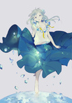 1girl barefoot hair_ornament jewelry long_hair necklace original purple_eyes shards skirt solo sumi_(pixiv619693) white_hair