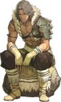 1boy abs atlas_(fire_emblem) boots brown_eyes fingerless_gloves fire_emblem fire_emblem_echoes:_mou_hitori_no_eiyuuou full_body fur_trim gloves grey_hair hidari_(left_side) highres jewelry male_focus navel necklace official_art rock scan scar shirtless sitting solo transparent_background