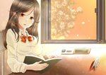 1girl black_hair book bow bowtie breasts brown_hair commentary_request desk final_fantasy final_fantasy_ix garnet_til_alexandros_xvii highres large_breasts long_hair looking_at_viewer minimum_key open_mouth red_bow red_neckwear school_uniform smile solo tree window