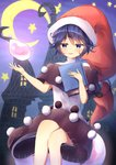 1girl :3 abstract_background absurdres arms_up blue_eyes blue_hair blush book commentary_request crescent_moon doremy_sweet dream_soul dress eyebrows_visible_through_hair feet_out_of_frame hair_between_eyes half-closed_eyes hat high_collar highres holding holding_book house layered_dress looking_at_viewer moon nightcap open_hand parted_lips pom_pom_(clothes) red_headwear sachisudesu short_hair sitting solo star stitches tail tapir_tail touhou
