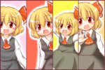 1girl :d blonde_hair derivative_work hair_ribbon oi_gatsuo open_mouth outstretched_arms red_eyes ribbon rumia shirt short_hair skirt slit_pupils smile spread_arms touhou vest