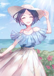 1girl ^_^ ^o^ absurdres adjusting_clothes adjusting_hat arm_at_side arm_up bare_shoulders black_hair blue_hair blue_shirt blue_sky blurry cliff closed_eyes collarbone cowboy_shot day depth_of_field field glint grass hat hayami_kanade highres horizon idolmaster idolmaster_cinderella_girls ilo jewelry light_rays lips necklace ocean off-shoulder_shirt off_shoulder pink_flower plant shirt short_hair skirt sky solo sun_hat sunlight water white_hat white_skirt