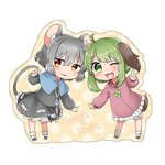 2girls ;d abe_suke ahoge animal_ears bangs black_footwear bloomers blush brown_eyes brown_footwear capelet character_name chibi dress eyebrows_visible_through_hair full_body green_eyes green_hair grey_hair jewelry kasodani_kyouko leaning_forward long_sleeves looking_at_viewer mouse_ears mouse_tail multiple_girls nazrin necklace one_eye_closed open_mouth short_hair simple_background skirt skirt_set smile socks standing tail touhou underwear v white_background white_legwear