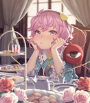 1girl :/ biscuit blush chin_rest collar commentary cup curtains eyebrows_visible_through_hair flower food frilled_collar frilled_sleeves frills hairband hands_on_own_cheeks hands_on_own_face head_rest heart highres indoors komeiji_satori long_sleeves looking_at_viewer nose nose_blush pink_eyes pink_flower pink_hair pink_rose pout red_flower red_rose rose sho_shima short_hair sitting solo table tea_set teacup touhou white_flower white_rose wide_sleeves window