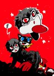 absurdres amamiya_ren animal black_hair blue_eyes cat copy_ability cosplay crossover daroach gloves gun hat highres kirby kirby_(series) male_focus mask morgana_(persona_5) open_mouth pants persona persona_5 plaid rariatto_(ganguri) red_background red_eyes short_hair super_smash_bros. tac_(kirby) weapon