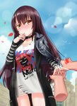 1girl ass_visible_through_thighs bangs bird black_choker black_coat black_jacket blue_sky blush brown_eyes brown_hair character_name choker closed_mouth clothes_writing cloud collarbone day disembodied_limb girls_frontline glint hair_between_eyes hand_to_own_mouth hand_up highres jacket jacket_on_shoulders jewelry leather leather_jacket long_hair long_sleeves nose_blush note2000 nz_75_(girls_frontline) outdoors panties petals print_shirt red_panties ring shirt sky solo_focus striped striped_sleeves torn_clothes torn_shirt underwear very_long_hair wedding_band white_shirt
