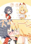 ! 2girls :3 :p >_< ? animal_ears bare_shoulders black_gloves black_hair blonde_hair blue_eyes blush bow bowtie comic commentary elbow_gloves extra_ears eyebrows_visible_through_hair gloves high-waist_skirt holding_hands imminent_kiss kaban_(kemono_friends) kemono_friends life_neko72 multiple_girls no_hat no_headwear paw_pose print_gloves print_neckwear red_shirt serval_(kemono_friends) serval_ears serval_print shirt short_hair silent_comic skirt sleeveless spoken_exclamation_mark spoken_question_mark tongue tongue_out translation_request white_shirt yellow_eyes