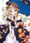 1girl abigail_williams_(fate/grand_order) absurdres bare_shoulders blonde_hair blue_eyes commentary_request detached_collar dress fate/grand_order fate_(series) flower frilled_dress frills hat highres lily_(flower) long_hair looking_at_viewer mini_hat mini_top_hat osanai parasol stuffed_animal stuffed_toy teddy_bear top_hat umbrella wrist_cuffs