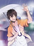 1boy :d ace_of_diamond blurry blurry_background brown_hair cat-24_(xmaru) closed_eyes collarbone facing_viewer hand_up highres holding holding_umbrella hood hood_down male_focus open_mouth outdoors rain sawamura_eijun shirt smile solo transparent transparent_umbrella umbrella upper_body white_shirt