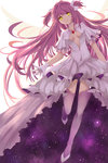 1girl absurdres bow dress gloves highres kaname_madoka long_hair mahou_shoujo_madoka_magica pink_hair smile solo space spoilers star ultimate_madoka very_long_hair wings yellow_eyes