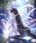 1girl animal_ears backless_outfit bangs bell black_hair blunt_bangs breasts cliff closed_mouth cygames dress flower fox_ears freckles from_behind hair_ribbon highres hisakata_souji hydrokinesis jingle_bell lily_pad long_hair looking_back medium_breasts official_art pink_flower pond purple_ribbon red_eyes ribbon see-through shingeki_no_bahamut shiny shiny_hair skirt_hold solo spider_lily straight_hair tareme very_long_hair wading water waterfall wet wet_clothes wet_dress white_dress