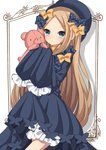 1girl abigail_williams_(fate/grand_order) absurdres bangs black_bow black_dress black_hat blonde_hair bloomers blue_eyes blush bow butterfly dress eyebrows_visible_through_hair fate/grand_order fate_(series) forehead hair_bow hat head_tilt highres holding holding_stuffed_animal long_hair long_sleeves looking_at_viewer orange_bow parted_bangs parted_lips polka_dot polka_dot_bow sapphire_(sapphire25252) sleeves_past_fingers sleeves_past_wrists solo stuffed_animal stuffed_toy teddy_bear underwear very_long_hair white_bloomers