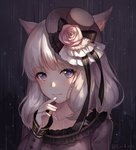 1girl 2018 animal_ears ayuanlv bangs bright_pupils cat_ears closed_mouth dated eyebrows_visible_through_hair eyes_visible_through_hair facial_mark final_fantasy final_fantasy_xiv flower grey_hat hand_up hat hat_flower long_sleeves looking_at_viewer medium_hair mini_hat mini_top_hat miqo'te mole mole_under_eye smile solo top_hat upper_body white_hair white_pupils