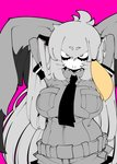 1girl alternate_hair_length alternate_hairstyle arms_behind_head arms_up bangs belt bird_wings breast_pocket breasts closed_mouth collared_shirt eyebrows_visible_through_hair greyscale hair_between_eyes head_wings kemono_friends large_breasts large_wings long_hair long_sleeves looking_at_viewer low_ponytail monochrome multicolored_hair nananana_nanana necktie orange_eyes orange_hair pink_background pocket shirt shoebill_(kemono_friends) short_over_long_sleeves short_sleeves shorts side_ponytail simple_background smile solo upper_body very_long_hair wings