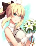1girl ahoge artoria_pendragon_(all) black_bow blonde_hair bouquet bow breastplate eyebrows_visible_through_hair fate/unlimited_codes fate_(series) flower gloves green_eyes hair_between_eyes hair_bow high_ponytail holding holding_bouquet long_hair oyaji-sou red_ribbon ribbon saber_lily sidelocks smile solo upper_body white_background white_flower white_gloves