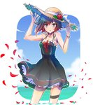 1girl black_dress black_hair bracelet commentary_request dress flower gradient_hair hat iesupa jewelry multicolored_hair petals red_hair rose rose_petals ruby_rose rwby short_hair silver_eyes solo straw_hat two-tone_hair