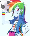 1girl baekgup ball blue_skin hand_on_hip long_hair looking_at_viewer multicolored_hair my_little_pony my_little_pony_equestria_girls purple_eyes rainbow_dash signature simple_background smile soccer_ball solo wristband