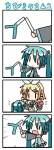 2girls 4koma :< aqua_hair chibi chibi_miku comic commentary_request hatsune_miku kagamine_rin minami_(colorful_palette) multiple_girls silent_comic tears translated twintails vocaloid you're_doing_it_wrong |_|