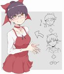 1girl :< bespectacled bow bowl_cut choker dress face fang fusion gegege_no_kitarou gem glasses hair_bun half-closed_eyes head_tilt ina_(gokihoihoi) long_sleeves looking_at_viewer nekomusume pinafore_dress pink_bow pointy_ears purple_hair red_choker shirt short_hair slit_pupils smile solo translation_request upper_body white_shirt yellow_eyes