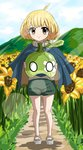 1girl absurdres ahoge blonde_hair bob_cut cape cloud cloudy_sky dr._stone english_commentary epicmilk flower food fruit full_body green_shorts highres holding holding_food holding_fruit jewelry leaf looking_at_viewer mountain necklace outdoors rope rope_necklace sandals short_hair shorts sky smile solo suika_(dr.stone) sunflower watermelon yellow_eyes