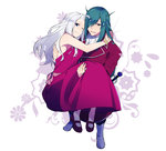 1boy 1girl ;) blue_eyes carrying dress fairy_tail fried_justine from_above green_hair hair_over_one_eye leghorn long_dress long_hair looking_at_viewer mirajane_strauss mole mole_under_eye one_eye_closed pantyhose parted_lips princess_carry red_dress silver_hair simple_background smile sword weapon white_background yellow_eyes