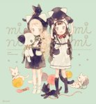 2girls :o animal animal_hood animal_on_head animal_print artist_name bangs black_hair black_legwear blonde_hair blue_background bow cat cat_band_legwear cat_hood cat_on_head cat_print cat_tail cover cover_page doujin_cover dress hair_bow hand_on_headwear holding holding_stuffed_animal hood kneehighs long_hair looking_at_viewer multiple_girls neck_ribbon no_shoes object_on_head on_head open_mouth original pechika ribbon socks standing stuffed_animal stuffed_cat stuffed_toy tail white_legwear yarn_ball