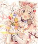 1girl :d absurdres animal_ear_fluff animal_ears bangs blurry blurry_foreground blush bouquet bow brown_eyes commentary_request depth_of_field elbow_gloves eyebrows_visible_through_hair flower gloves hair_between_eyes hair_bow hair_flower hair_ornament hands_up head_tilt highres holding holding_bouquet looking_at_viewer open_mouth original pink_flower purple_flower red_bow red_flower sakura_oriko shirt sleeveless sleeveless_shirt smile solo tree_branch upper_body white_background white_flower white_gloves white_hair white_shirt wrist_cuffs yellow_flower