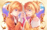 1boy 1girl allen_avadonia bare_shoulders blonde_hair blue_eyes blush bow brother_and_sister brown_jacket choker cravat crying crying_with_eyes_open dress evillious_nendaiki eye_contact hair_bow hair_ribbon holding_hands interlocked_fingers jacket kagamine_len kagamine_rin looking_at_another mipi one_eye_closed open_mouth ribbon riliane_lucifen_d'autriche ruffled_sleeves short_ponytail siblings sky smile star_(sky) starry_sky tears twilight twins updo vocaloid yellow_jacket
