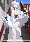 1girl :o apron azur_lane baiyin bangs belfast_(azur_lane) blue_eyes blue_sky blush braid breasts chain cleavage cloud collar collarbone commentary_request day dress eyebrows_visible_through_hair french_braid frills gloves highres indoors large_breasts long_hair looking_at_viewer maid maid_headdress open_mouth photo_(object) revision sidelocks silver_hair sky solo stairs white_gloves wind wind_lift window