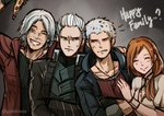 1girl 3boys anger_vein coat commentary crossed_arms dante_(devil_may_cry) devil_may_cry devil_may_cry_5 english_commentary english_text facial_hair father_and_son food gradient gradient_background gzei hetero kyrie multiple_boys nero_(devil_may_cry) one_eye_closed pizza red_coat smile sweat tagme teeth uncle_and_nephew vergil white_hair