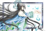 1girl bangs black_hair blue_cape blue_eyes bubble cape floating_hair frame houshin_engi jewelry long_hair open_palms outside_border outstretched_arms outstretched_hand profile ring ryuukitsu_koushu simple_background solo tayana_(ddxc8574) very_long_hair white_background