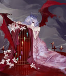 1girl absurdres alternate_costume bare_shoulders bat_wings birdcage blood cage closed_mouth commentary_request cross dress flower frown highres kelou looking_at_viewer pale_skin pink_dress red_eyes remilia_scarlet short_hair silver_hair solo strapless strapless_dress tiara tombstone touhou wings