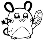 :3 bkub commentary dedenne gen_1_pokemon greyscale holding holding_rock monochrome mouse no_humans open_mouth pokemon pokemon_(creature) round_teeth simple_background solo tail teeth thunder_stone white_background