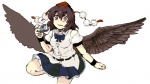 1girl bad_id bad_pixiv_id black_wings brown_eyes brown_hair camera kirusu looking_at_viewer ribbon shameimaru_aya short_hair skirt smile solo touhou wings