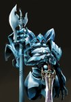 armor black_background blue cocytus_(overlord) commentary_request cropped_legs extra_arms fewer_digits halberd hands_on_hilt hands_together highres holding holding_sword holding_weapon looking_at_viewer no_humans overlord_(maruyama) pauldrons polearm red_eyes simple_background solo sword weapon xiniu_r&f_(lande_hua_hua)