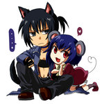 2girls 428 alphard animal_ears bandeau black_hair blue_hair canaan chibi dress fingerless_gloves gloves heart liang_qi midriff mouse_ears mouse_tail multiple_girls navel open_mouth ponytail red_eyes rex_k short_hair smile suspenders tail