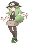 1girl blue_(pokemon) commentary_request fusion green_eyes green_hair hanomido hat long_hair midriff n_(pokemon) navel outstretched_arms pantyhose parted_lips pokemon pokemon_(game) pokemon_bw pokemon_frlg simple_background skirt smile solo standing white_background wristband