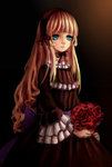 1girl aqua_eyes black_background black_dress blonde_hair blue_eyes bouquet dark dress flower gosick gothic_lolita green_eyes hairband highres holding iceblue light_smile lolita_fashion lolita_hairband long_hair long_sleeves red_rose rose solo very_long_hair victorica_de_blois wide_sleeves