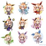 1girl absurdres animal_ears bangs bare_shoulders black_hair blonde_hair blue_dress blue_hair braid brown_hair bubble cape chibi commentary_request crossover dark_illuminate dress eevee english_commentary espeon evolutionary_stone eyebrows_visible_through_hair feathers fins fire flareon fluffy frilled_dress frilled_skirt frilled_sleeves frills fur-trimmed_sleeves fur_trim glaceon green_hair hair_extensions hat heart highres idolmaster idolmaster_cinderella_girls idolmaster_cinderella_girls_starlight_stage jolteon lavender_hair leafeon lightning long_hair mahoxyshoujo microphone multicolored_hair necktie ninomiya_asuka orange_hair pink_eyes pink_hair pokemon purple_dress purple_hair red_hair ribbon safari_jacket side_braid silver_hair skirt sleeveless sleeveless_dress snow snowflakes solo star sylveon tail tiara torn_clothes two-tone_hair umbreon vaporeon water weapon white_dress white_hair white_skirt