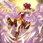 1girl angel_wings bird blonde_hair boots brown_footwear cefca_palazzo chick commentary covered_nipples dress feathered_wings final_fantasy final_fantasy_vi full_body halo highres light_smile multicolored_hair multiple_wings niwatari_kutaka orange_dress parody puffy_short_sleeves puffy_sleeves red_eyes red_hair seraph shope short_hair short_sleeves solo touhou wings